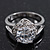 Rhodium Plated Split Shank Round Cut CZ Crystal 'Meret' Solitaire Ring - 8mm length - view 8