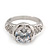 Rhodium Plated Semi-Bezel Set CZ Crystal 'Imentet' Solitaire Ring - Round cut stone 8mm length - view 7