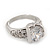 Rhodium Plated Semi-Bezel Set CZ Crystal 'Imentet' Solitaire Ring - Round cut stone 8mm length - view 8