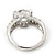 Rhodium Plated Semi-Bezel Set CZ Crystal 'Imentet' Solitaire Ring - Round cut stone 8mm length - view 6