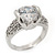 Rhodium Plated Semi-Bezel Set CZ Crystal 'Imentet' Solitaire Ring - Round cut stone 8mm length - view 2