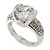 Rhodium Plated Semi-Bezel Set CZ Crystal 'Imentet' Solitaire Ring - Round cut stone 8mm length - view 10