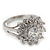 Rhodium Plated Floral CZ Crystal 'Maat' Solitaire Ring - 15mm Diameter - view 6