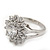 Rhodium Plated Floral CZ Crystal 'Maat' Solitaire Ring - 15mm Diameter - view 8