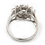 Rhodium Plated Floral CZ Crystal 'Maat' Solitaire Ring - 15mm Diameter - view 7