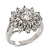 Rhodium Plated Floral CZ Crystal 'Maat' Solitaire Ring - 15mm Diameter - view 9