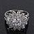 Rhodium Plated Floral CZ Crystal 'Maat' Solitaire Ring - 15mm Diameter - view 5