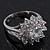 Rhodium Plated Floral CZ Crystal 'Maat' Solitaire Ring - 15mm Diameter - view 2