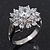 Rhodium Plated Floral CZ Crystal 'Maat' Solitaire Ring - 15mm Diameter