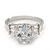 Rhodium Plated Oval Cut CZ Crystal 'Isis' Solitaire Ring - 10mm length - view 6