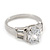 Rhodium Plated Oval Cut CZ Crystal 'Isis' Solitaire Ring - 10mm length - view 8