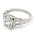 Rhodium Plated Oval Cut CZ Crystal 'Isis' Solitaire Ring - 10mm length - view 9
