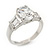 Rhodium Plated Oval Cut CZ Crystal 'Isis' Solitaire Ring - 10mm length - view 3