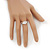 Rhodium Plated Oval Cut CZ Crystal 'Isis' Solitaire Ring - 10mm length - view 4