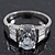 Rhodium Plated Oval Cut CZ Crystal 'Isis' Solitaire Ring - 10mm length - view 2