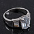 Rhodium Plated Oval Cut CZ Crystal 'Isis' Solitaire Ring - 10mm length - view 7