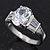 Rhodium Plated Oval Cut CZ Crystal 'Isis' Solitaire Ring - 10mm length - view 10