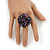 Large Purple/Pink/Black Glass Bead Flower Stretch Ring - Adjustable - view 3