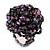 Large Purple/Pink/Black Glass Bead Flower Stretch Ring - Adjustable