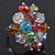 Multicoloured Glass Cluster Ring In Silver Plating - Adjustable (Size 8/9)