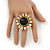 'Diva Blossom' Crystal and Ceramic Flower Ring in Gold Tone - Adjustable size 7/8 - view 5