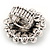'Diva Blossom' Crystal and Ceramic Flower Ring (Silver Tone) - Adjustable size 7/8 - view 2