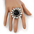 'Diva Blossom' Crystal and Ceramic Flower Ring (Silver Tone) - Adjustable size 7/8 - view 4