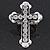 'Fleur de Lis' Crystal Set Statement Cross Stretch Ring In Vintage Silver Finish - 6cm Length - Adjustable size 7/8