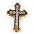 'Fleur de Lis' Crystal Set Statement Cross Stretch Ring In Vintage Gold Finish - 6cm Length - Adjustable size 7/8 - view 2