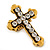 'Fleur de Lis' Crystal Set Statement Cross Stretch Ring In Vintage Gold Finish - 6cm Length - Adjustable size 7/8