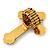 'Fleur de Lis' Crystal Set Statement Cross Stretch Ring In Vintage Gold Finish - 6cm Length - Adjustable size 7/8 - view 4