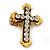 'Fleur de Lis' Crystal Set Statement Cross Stretch Ring In Vintage Gold Finish - 6cm Length - Adjustable size 7/8 - view 6