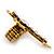 'Fleur de Lis' Crystal Set Statement Cross Stretch Ring In Vintage Gold Finish - 6cm Length - Adjustable size 7/8 - view 5