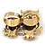 Burn Gold Light Amber Coloured Crystal 'Double Owl' Double Finger Ring - Adjustbable - 4.5cm Length - view 6