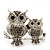 Silver Plated Light Grey Crystal 'Double Owl' Double Finger Ring - Adjustbable - 4.5cm Length - view 2