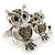 Silver Plated Light Grey Crystal 'Double Owl' Double Finger Ring - Adjustbable - 4.5cm Length - view 4