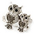 Silver Plated Light Grey Crystal 'Double Owl' Double Finger Ring - Adjustbable - 4.5cm Length - view 6