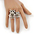 Silver Plated Light Grey Crystal 'Double Owl' Double Finger Ring - Adjustbable - 4.5cm Length - view 5