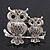 Silver Plated Light Grey Crystal 'Double Owl' Double Finger Ring - Adjustbable - 4.5cm Length