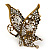 'La Mariposa' Swarovski Encrusted Butterfly Cocktail Stretch Ring In Burn Gold Finish (Clear Crystals) - Adjustable size 7/8 - view 4