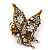 'La Mariposa' Swarovski Encrusted Butterfly Cocktail Stretch Ring In Burn Gold Finish (Clear Crystals) - Adjustable size 7/8