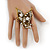 'La Mariposa' Swarovski Encrusted Butterfly Cocktail Stretch Ring In Burn Gold Finish (Clear Crystals) - Adjustable size 7/8 - view 2