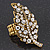'Autumn Dew' Swarovski Crystal Leaf Stretch Ring In Burnt Gold Plating  - Adjustable size 7/8