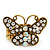 'Papillonne' Swarovski Encrusted Butterfly Cocktail Stretch Ring In Burn Gold Finish (Clear Crystals) - Adjustable size 7/8