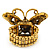'Papillonne' Swarovski Encrusted Butterfly Cocktail Stretch Ring In Burn Gold Finish (Black Crystals) - Adjustable size 7/8 - view 2