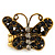 'Papillonne' Swarovski Encrusted Butterfly Cocktail Stretch Ring In Burn Gold Finish (Black Crystals) - Adjustable size 7/8 - view 3