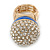Statement Pave-Set Crystal, Blue Enamel 'Ball' Flex Ring In Gold Plating - 25mm Across - Size 7/8 - view 6