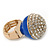 Statement Pave-Set Crystal, Blue Enamel 'Ball' Flex Ring In Gold Plating - 25mm Across - Size 7/8 - view 7