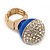 Statement Pave-Set Crystal, Blue Enamel 'Ball' Flex Ring In Gold Plating - 25mm Across - Size 7/8 - view 2