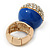 Statement Pave-Set Crystal, Blue Enamel 'Ball' Flex Ring In Gold Plating - 25mm Across - Size 7/8 - view 4